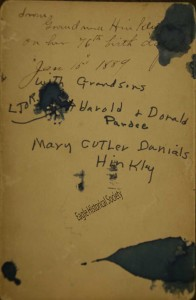 Reverse side of photograph of Mary Hinkley with her grandsons
