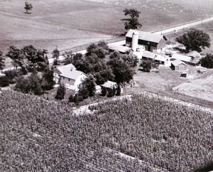 aerial view of Steinhoff farm in the 1950's