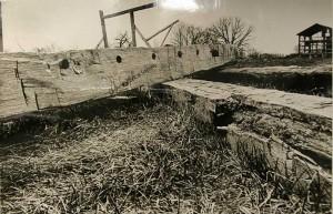 Waukesha Freeman photo of a barn beam- circa 1970