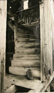 Old newspaper photo of granary steps