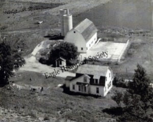 Aerial photograph of Valley View Farms in Eagle, Wisconsin. Early 1950's.