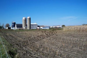 Royal Angus Farms, Eagle, Wisconsin- view of silos, barn, and fields.