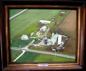 Aerial photo of Casey Farms in Eagle, Wisconsin- circa 1973