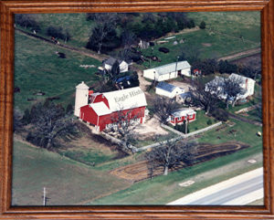 Aerial photograph of Friendly Acres farm in 1987