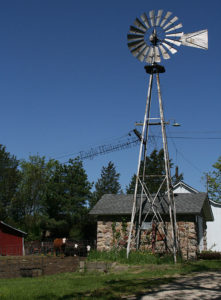 Windmill and small stone building on Mueller farm in 2010